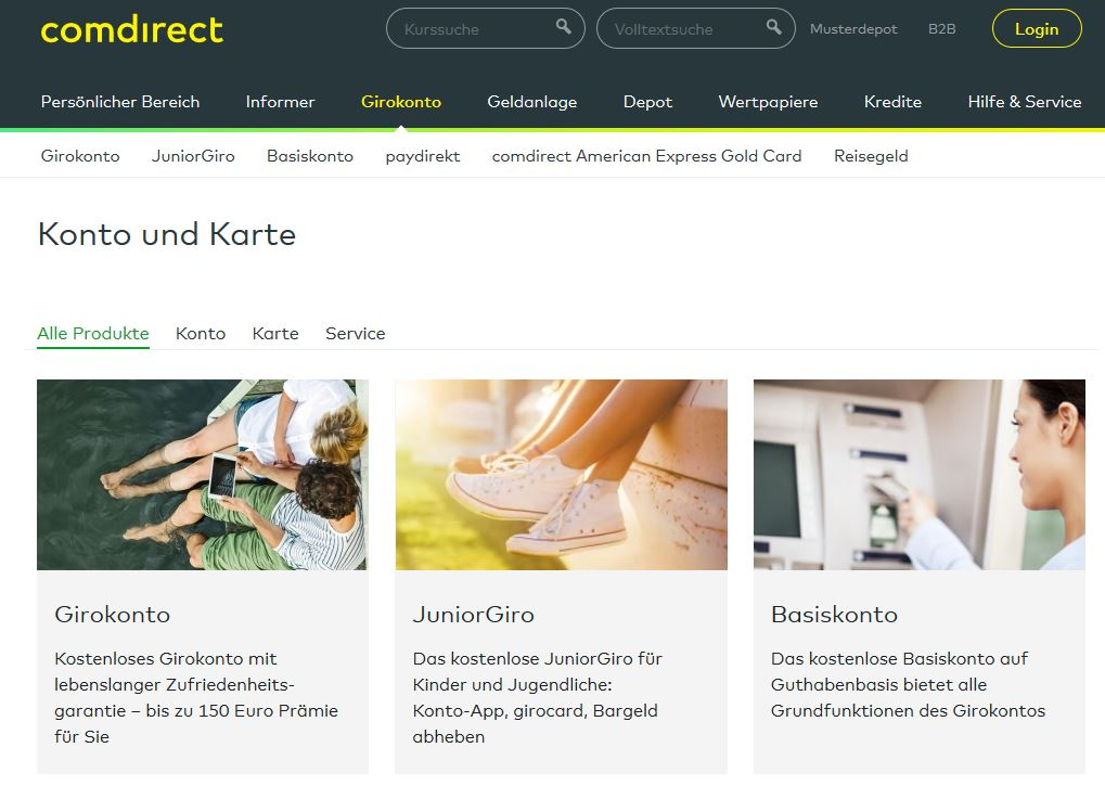 """Auf comdirect.de unter """"Girokonto"""" findest du sofort einen Link zum """"kostenlosen Girokonto"""""""